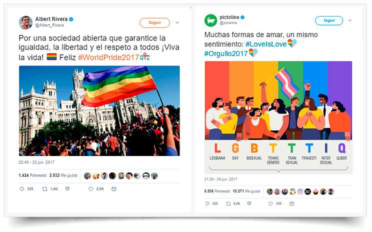Tuit ejemplo orgullo gay